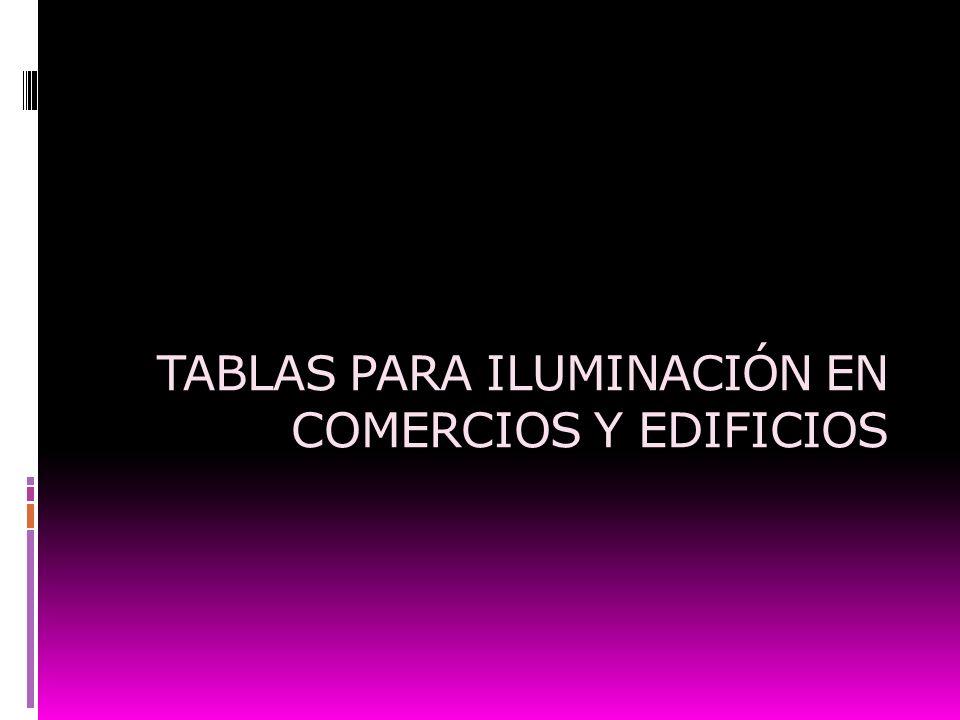 TABLAS PARA ILUMINACIÓN EN COMERCIOS Y EDIFICIOS