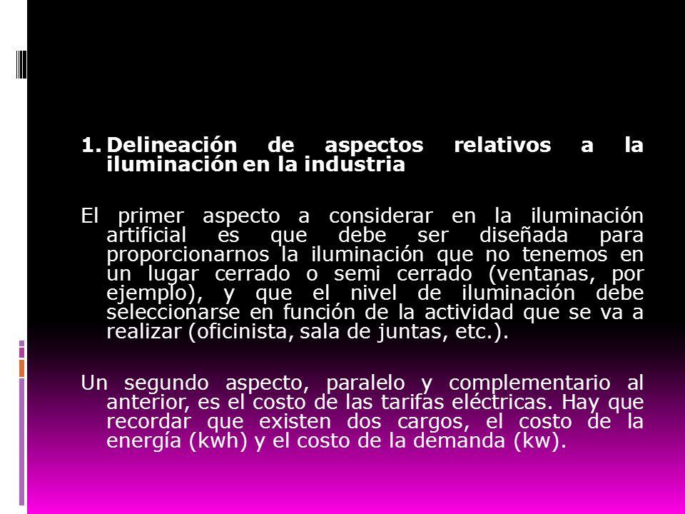 1.Delineación de aspectos relativos a la iluminación en la industria El primer aspecto a considerar en la iluminación artificial es que debe ser diseñ