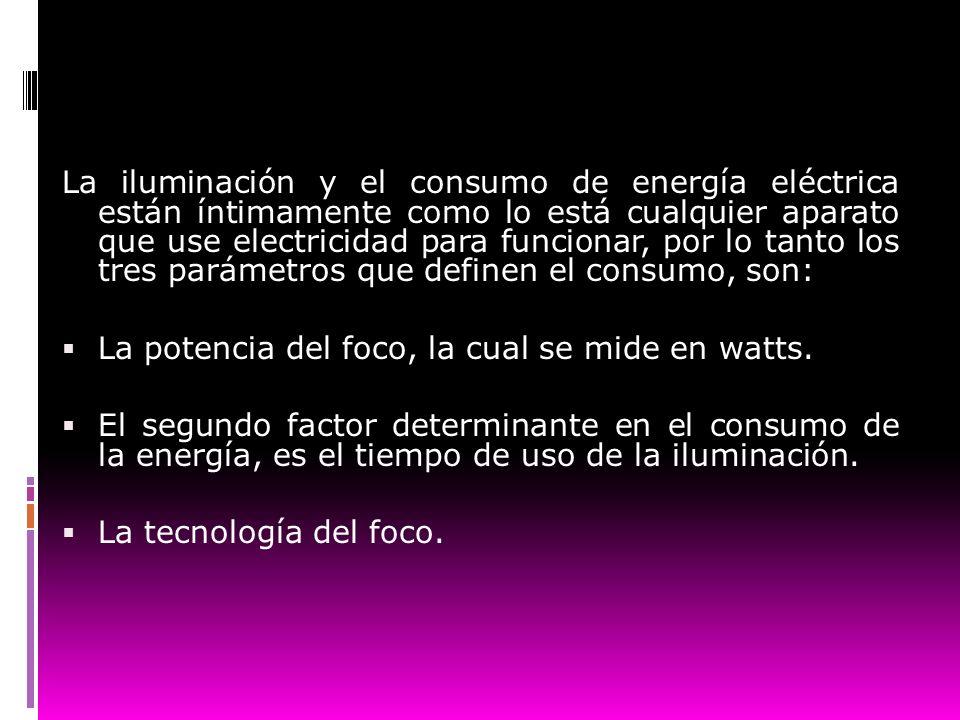 La iluminación y el consumo de energía eléctrica están íntimamente como lo está cualquier aparato que use electricidad para funcionar, por lo tanto lo