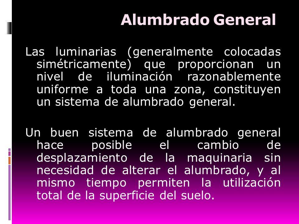 Alumbrado General Las luminarias (generalmente colocadas simétricamente) que proporcionan un nivel de iluminación razonablemente uniforme a toda una z