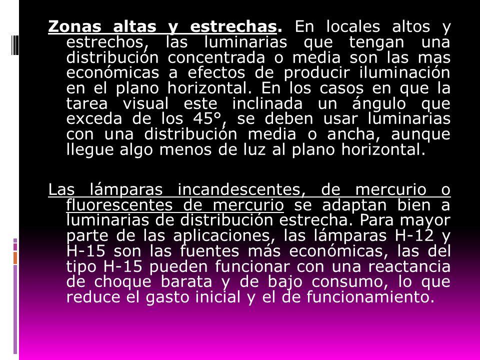 Zonas altas y estrechas. En locales altos y estrechos, las luminarias que tengan una distribución concentrada o media son las mas económicas a efectos