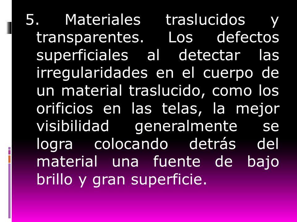 5. Materiales traslucidos y transparentes. Los defectos superficiales al detectar las irregularidades en el cuerpo de un material traslucido, como los