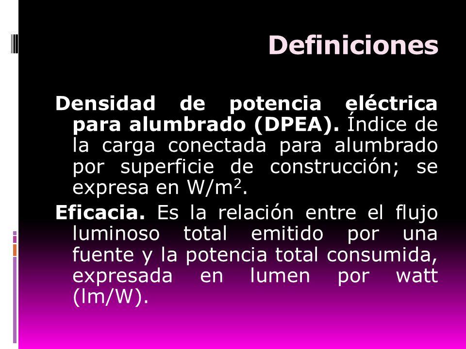 Definiciones Densidad de potencia eléctrica para alumbrado (DPEA). Índice de la carga conectada para alumbrado por superficie de construcción; se expr
