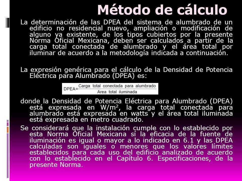 Método de cálculo La determinación de las DPEA del sistema de alumbrado de un edificio no residencial nuevo, ampliación o modificación de alguno ya ex
