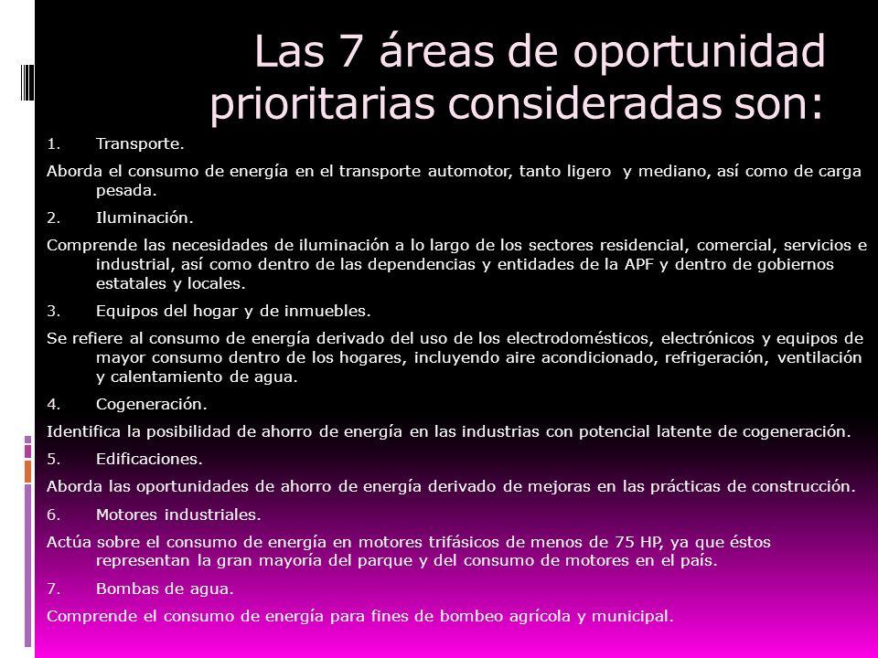 Las 7 áreas de oportunidad prioritarias consideradas son: 1. Transporte. Aborda el consumo de energía en el transporte automotor, tanto ligero y media