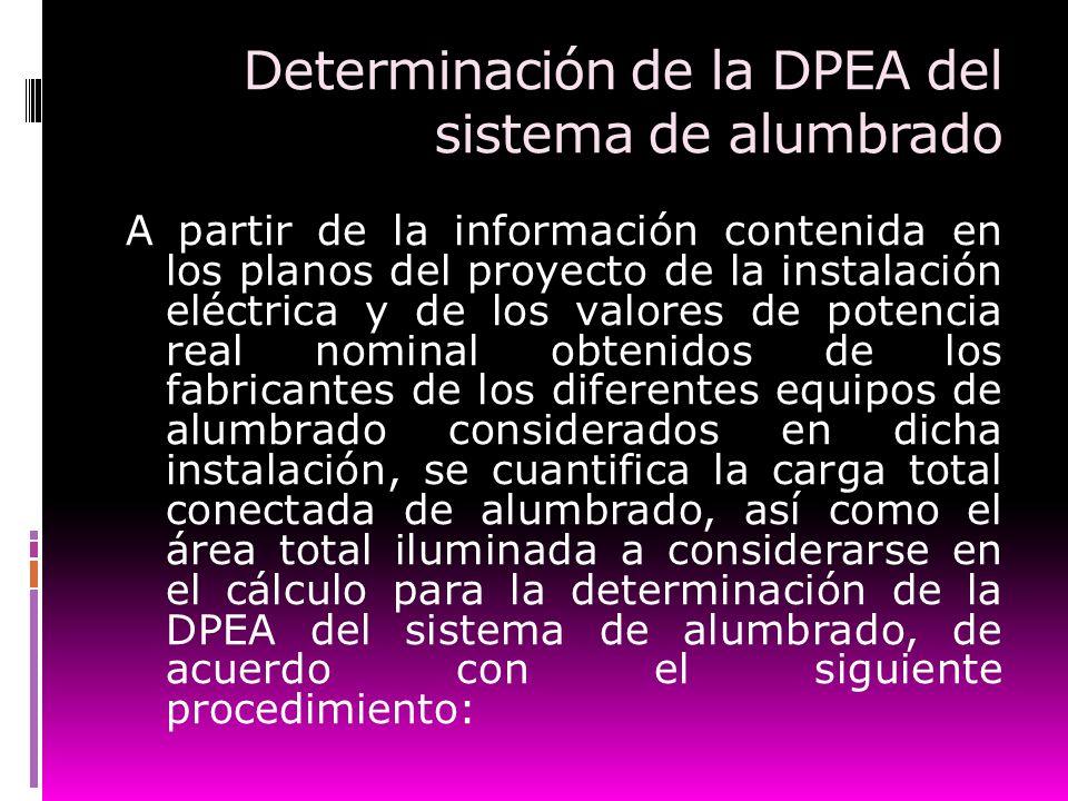 Determinación de la DPEA del sistema de alumbrado A partir de la información contenida en los planos del proyecto de la instalación eléctrica y de los