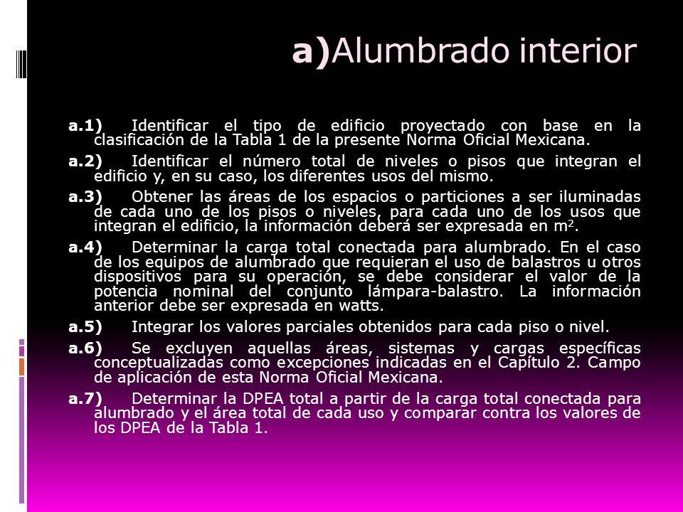 a)Alumbrado interior a.1)Identificar el tipo de edificio proyectado con base en la clasificación de la Tabla 1 de la presente Norma Oficial Mexicana.