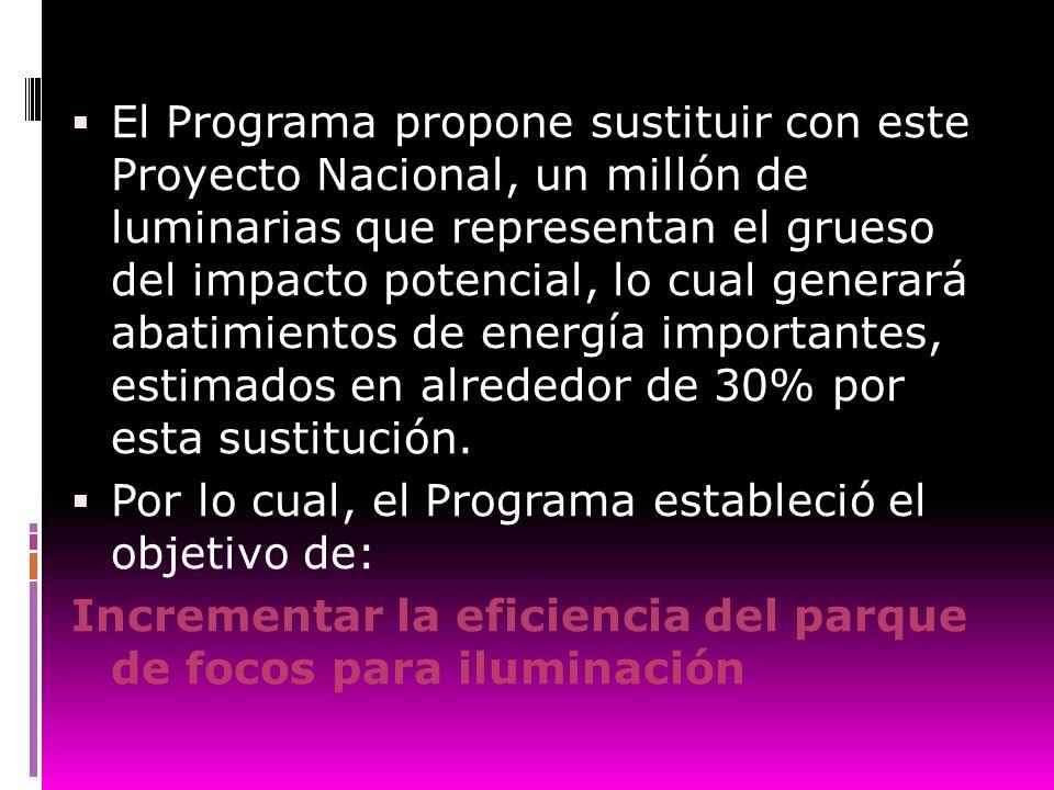 El Programa propone sustituir con este Proyecto Nacional, un millón de luminarias que representan el grueso del impacto potencial, lo cual generará ab