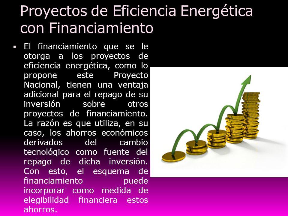 Proyectos de Eficiencia Energética con Financiamiento El financiamiento que se le otorga a los proyectos de eficiencia energética, como lo propone est