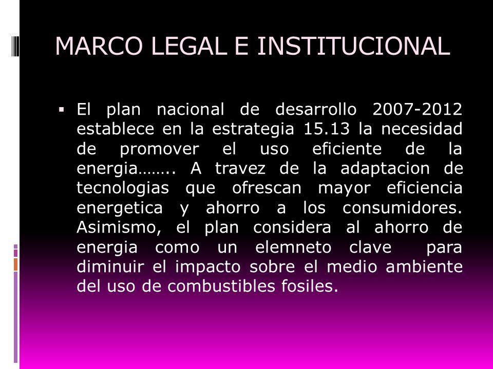 MARCO LEGAL E INSTITUCIONAL El plan nacional de desarrollo 2007-2012 establece en la estrategia 15.13 la necesidad de promover el uso eficiente de la