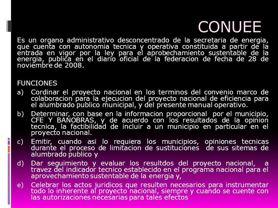 CONUEE Es un organo administrativo desconcentrado de la secretaria de energia, que cuenta con autonomia tecnica y operativa constituida a partir de la