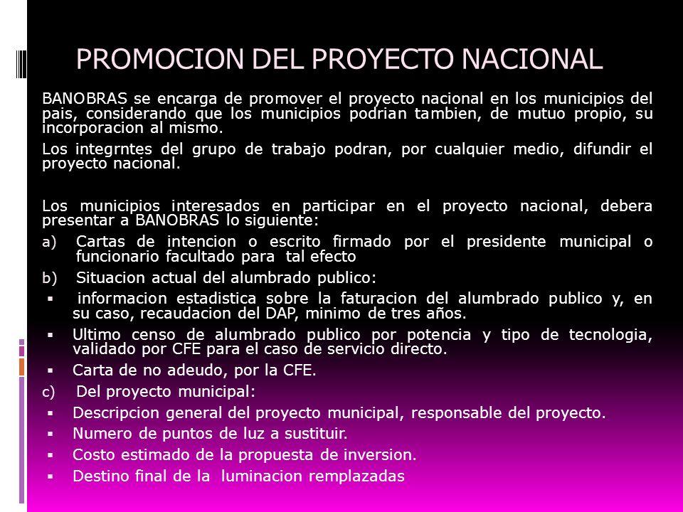 PROMOCION DEL PROYECTO NACIONAL BANOBRAS se encarga de promover el proyecto nacional en los municipios del pais, considerando que los municipios podri