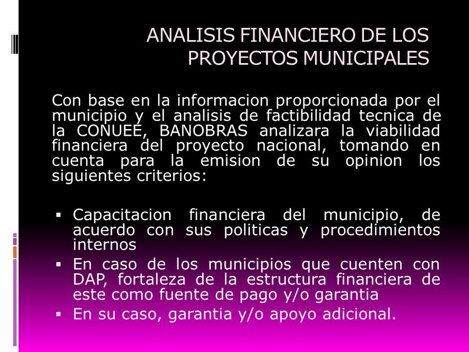 ANALISIS FINANCIERO DE LOS PROYECTOS MUNICIPALES Con base en la informacion proporcionada por el municipio y el analisis de factibilidad tecnica de la