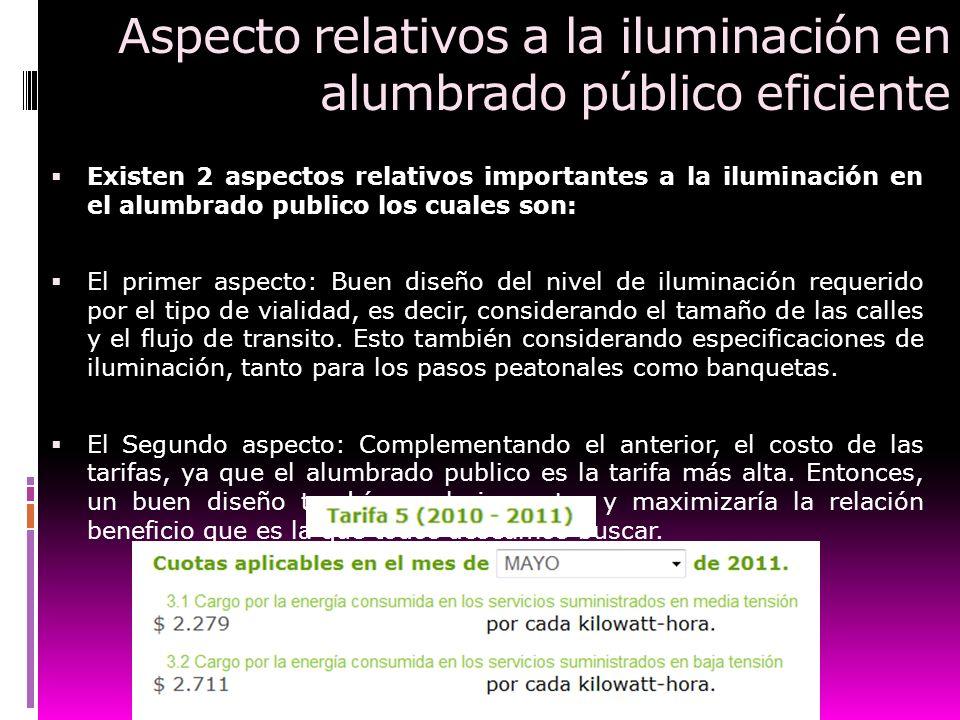 Aspecto relativos a la iluminación en alumbrado público eficiente Existen 2 aspectos relativos importantes a la iluminación en el alumbrado publico lo