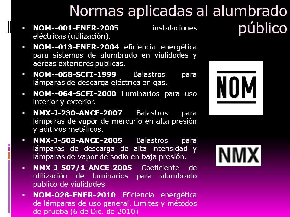 Normas aplicadas al alumbrado público NOM--001-ENER-2005 instalaciones eléctricas (utilización). NOM--013-ENER-2004 eficiencia energética para sistema