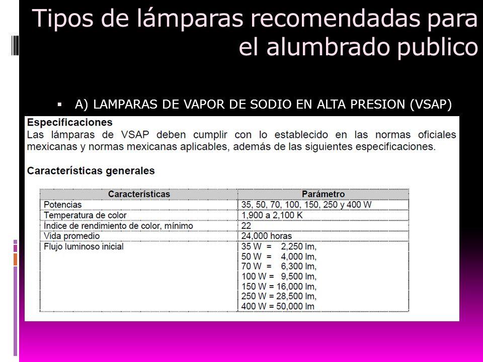 Tipos de lámparas recomendadas para el alumbrado publico A) LAMPARAS DE VAPOR DE SODIO EN ALTA PRESION (VSAP)