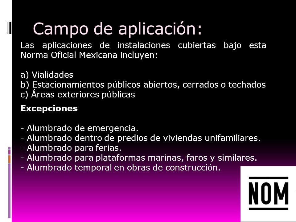 Campo de aplicación: Las aplicaciones de instalaciones cubiertas bajo esta Norma Oficial Mexicana incluyen: a) Vialidades b) Estacionamientos públicos