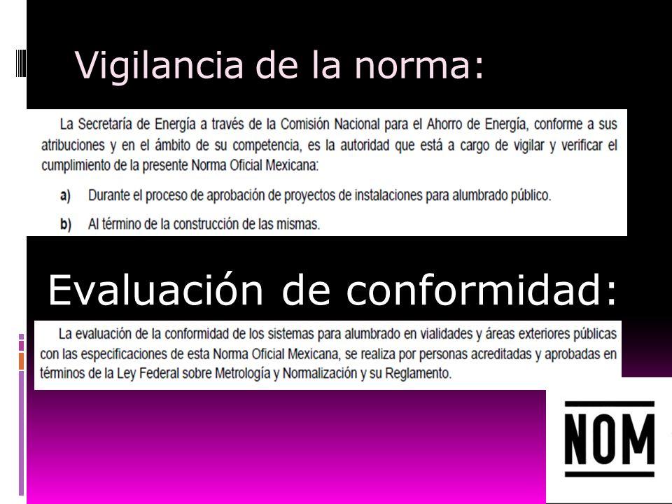 Vigilancia de la norma: Evaluación de conformidad: