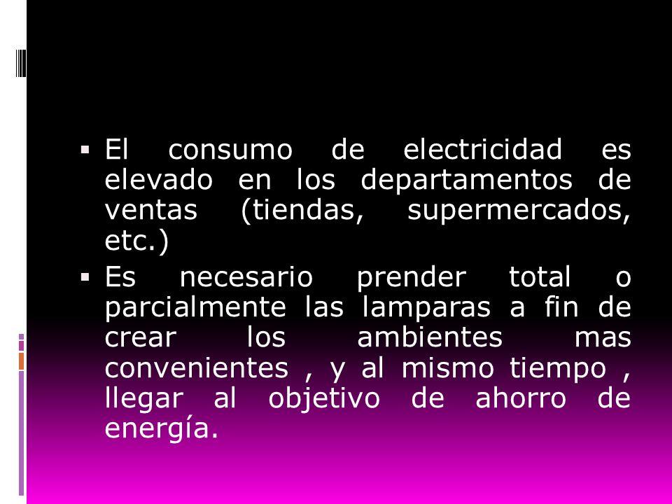 El consumo de electricidad es elevado en los departamentos de ventas (tiendas, supermercados, etc.) Es necesario prender total o parcialmente las lamp