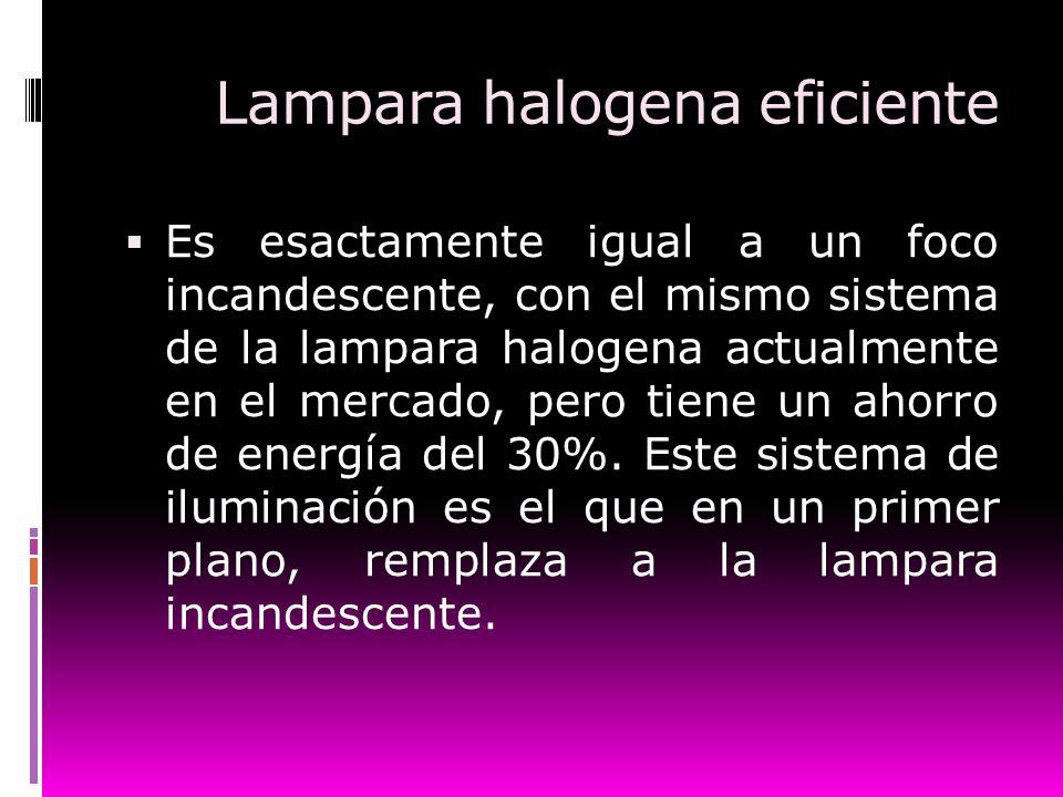 Lampara halogena eficiente Es esactamente igual a un foco incandescente, con el mismo sistema de la lampara halogena actualmente en el mercado, pero t