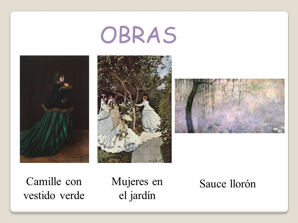 OBRAS Camille con vestido verde Mujeres en el jardín Sauce llorón