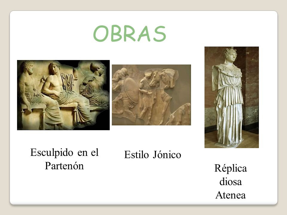 OBRAS Esculpido en el Partenón Estilo Jónico Réplica diosa Atenea