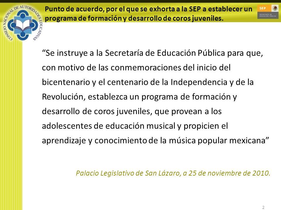 2 Punto de acuerdo, por el que se exhorta a la SEP a establecer un programa de formación y desarrollo de coros juveniles. Se instruye a la Secretaría