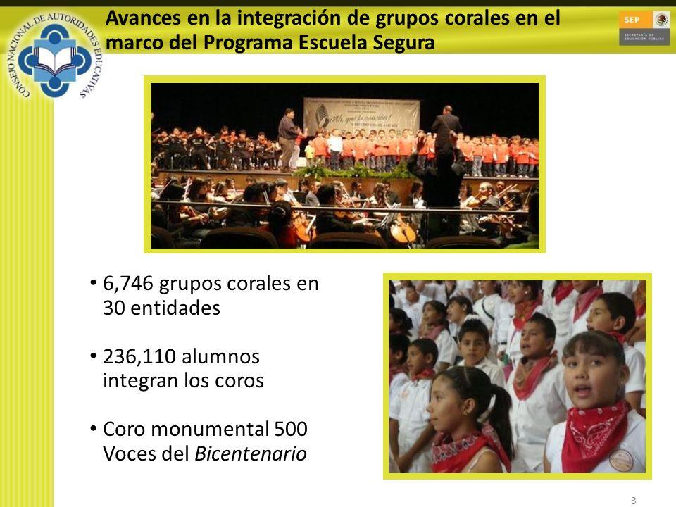 3 Avances en la integración de grupos corales en el marco del Programa Escuela Segura 6,746 grupos corales en 30 entidades 236,110 alumnos integran los coros Coro monumental 500 Voces del Bicentenario