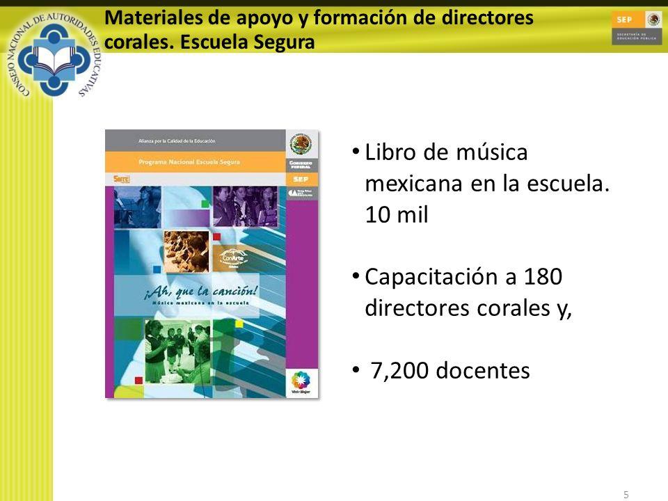 5 Materiales de apoyo y formación de directores corales. Escuela Segura Libro de música mexicana en la escuela. 10 mil Capacitación a 180 directores c