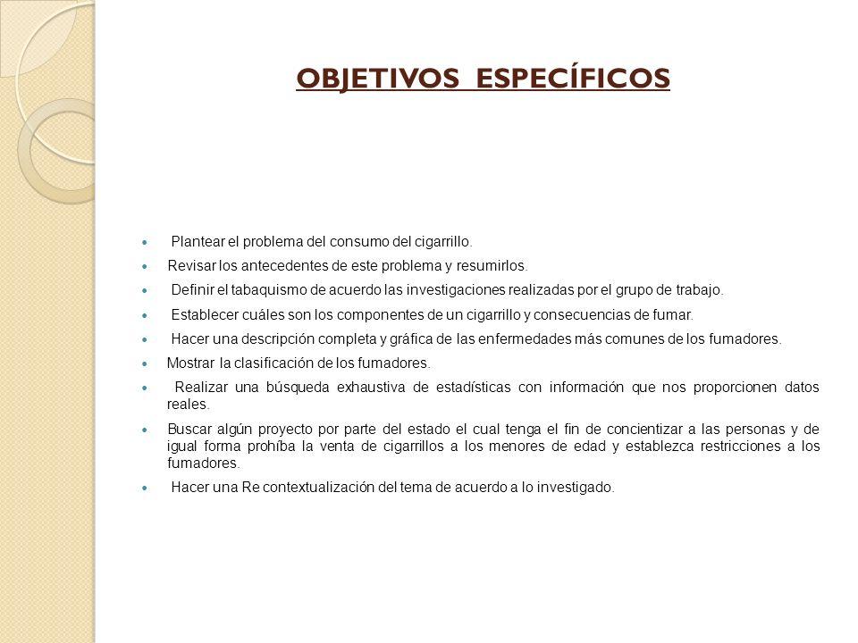 OBJETIVOS ESPECÍFICOS Plantear el problema del consumo del cigarrillo.