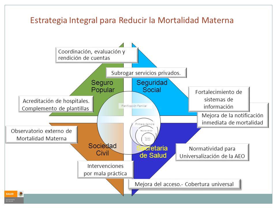 Estrategia Integral para Reducir la Mortalidad Materna Planificación Familiar Primera demora Segunda demora Tercera demora Seguro Popular Secretaria d