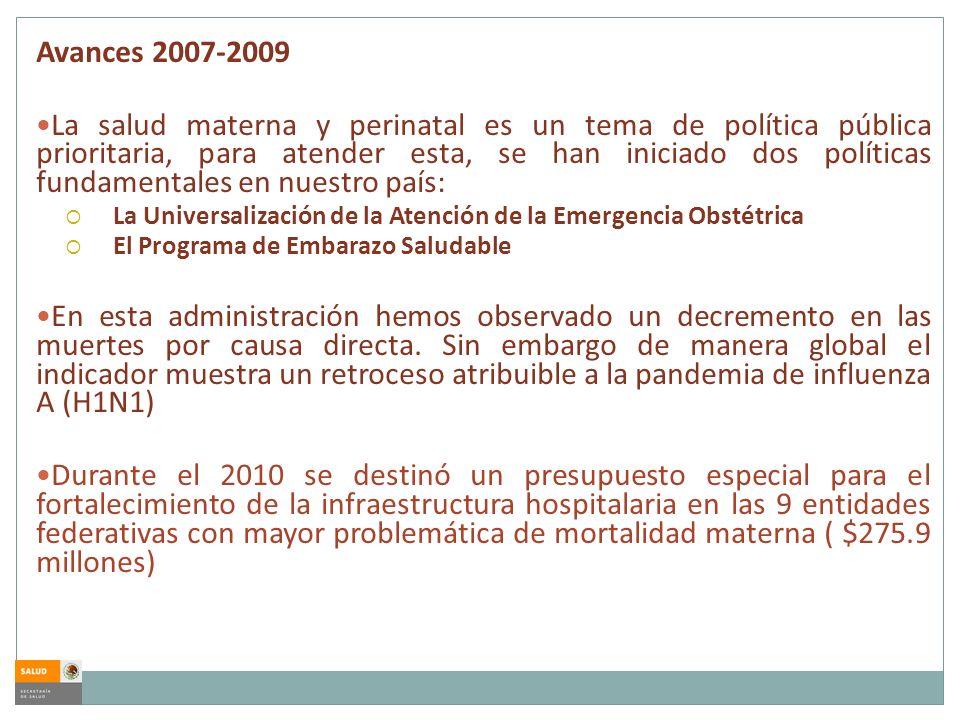 Avances 2007-2009 La salud materna y perinatal es un tema de política pública prioritaria, para atender esta, se han iniciado dos políticas fundamenta