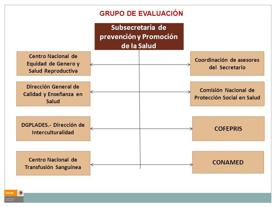 GRUPO DE EVALUACIÓN Subsecretaria de prevención y Promoción de la Salud Dirección General de Calidad y Enseñanza en Salud CONAMED COFEPRIS Comisión Na