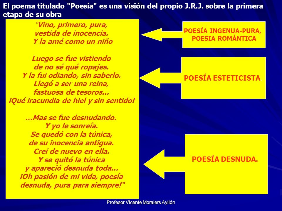 Profesor Vicente Moralers Ayllón El poema titulado Poesía es una visión del propio J.R.J.