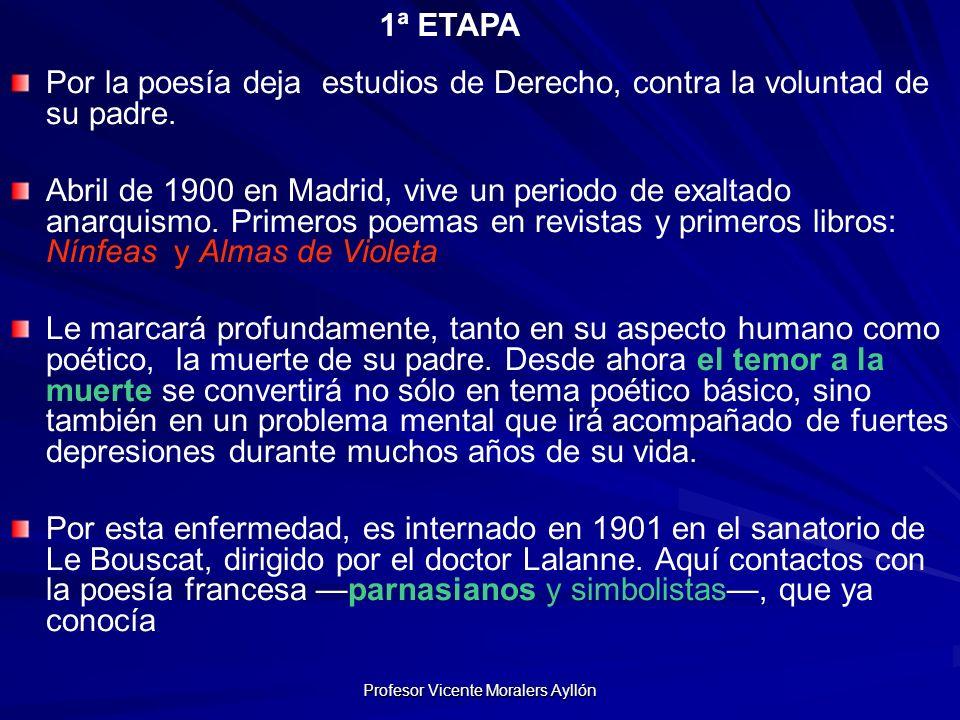 Profesor Vicente Moralers Ayllón Por la poesía deja estudios de Derecho, contra la voluntad de su padre.