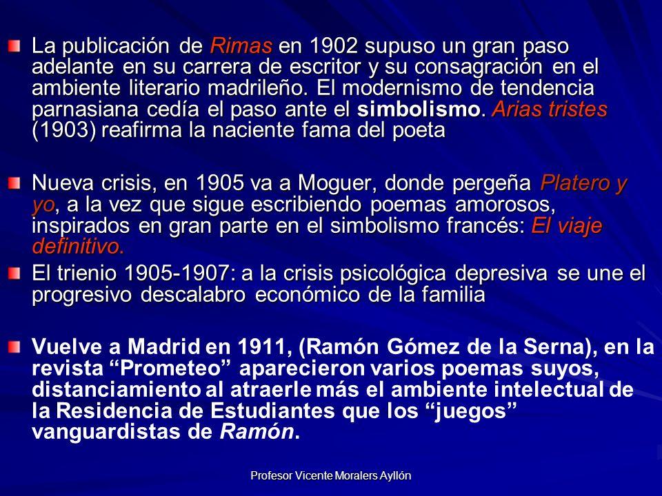 Profesor Vicente Moralers Ayllón 2ª Etapa Se instalará en la Residencia en 1913, convirtiéndose en uno de sus principales animadores Conoce en 1913 a la catalana Zenobia Camprubí, de quien se enamora profundamente.