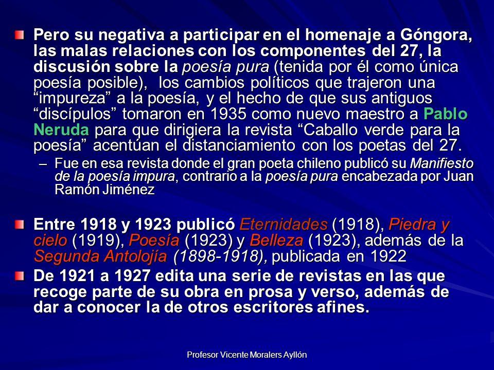 Profesor Vicente Moralers Ayllón De 1925 a 1935 publica sus Cuadernos.