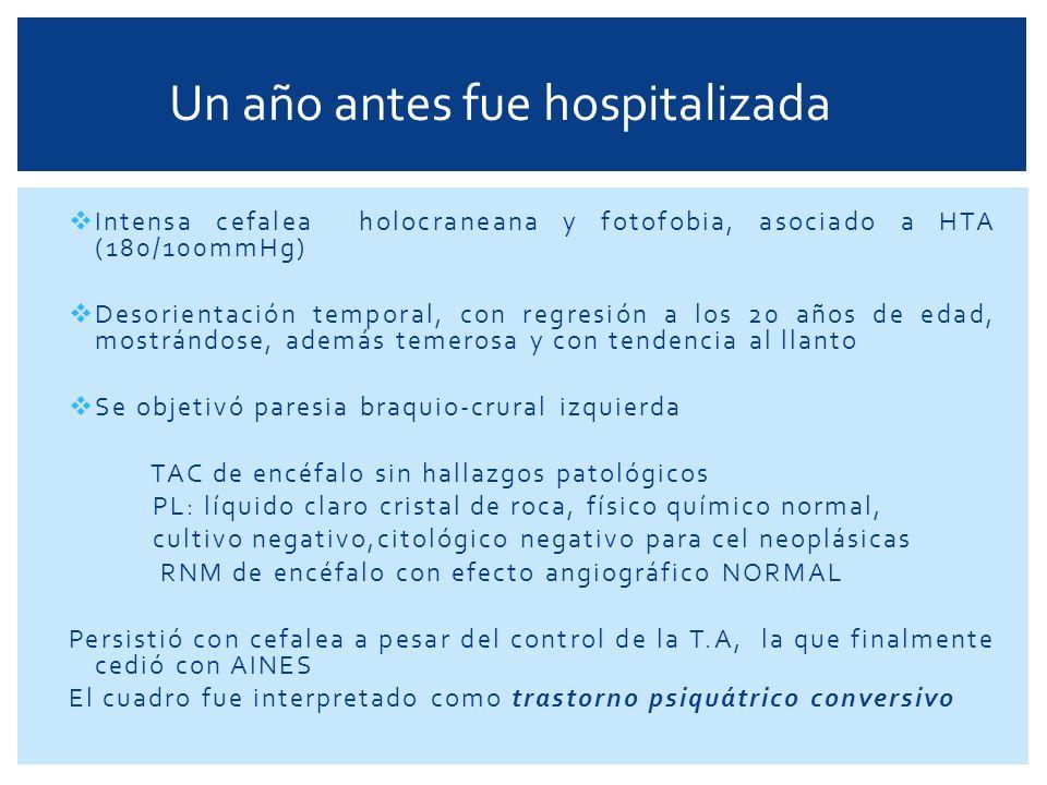 Fiebre y odinofagia, con exudados amigdalinos Faringoamigdalitis pultácea y recibió tt con amoxicilina por 10 días A los 7 días (intratratamiento) desarrolló fiebre de 38-39 ° con exudados amigdalinos y aftas dolorosas en mucosa yugal con intensa odinofagia que dificultaba la deglución, artromialgias y postración Laboratorio: GB 19.000 mm3 (N93 E2 B0 L14 M1) Hto: 36 % Hb: 11.6 g/dl Glucemia: 1.0 g % Urea: 0.34 mg % VSG: 45 mm 1° h TAC de Cuello: aumento tamaño amigdalino bilateral pequeñas adenopatías latero-cervicales y supraclaviculares menores de 1cm, sin complicaciones supuradas Ceftiaxona-Clindamicina con buena evolución, se torna afebril y descenso de blancos, se externa para el control ambulatorio con resolución del cuadro 15 días previos al ingreso