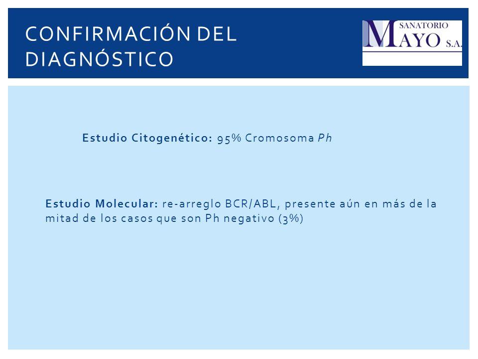 Estudio Citogenético: 95% Cromosoma Ph Estudio Molecular: re-arreglo BCR/ABL, presente aún en más de la mitad de los casos que son Ph negativo (3%) CO