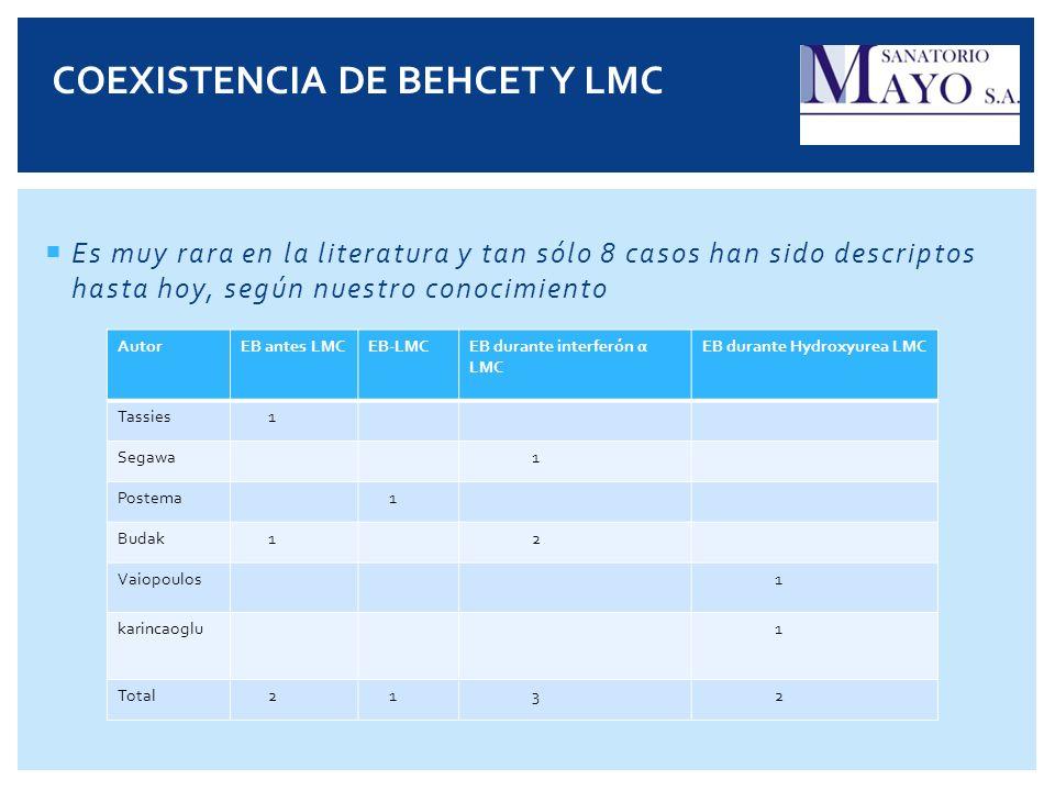 Es muy rara en la literatura y tan sólo 8 casos han sido descriptos hasta hoy, según nuestro conocimiento AutorEB antes LMCEB-LMCEB durante interferón