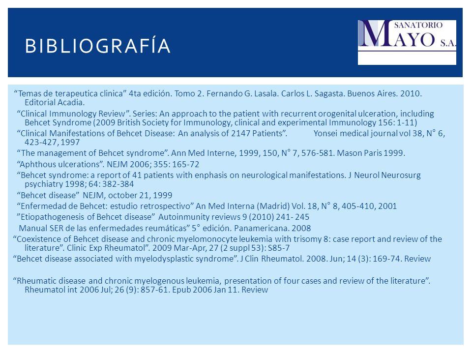 BIBLIOGRAFÍA Temas de terapeutica clinica 4ta edición. Tomo 2. Fernando G. Lasala. Carlos L. Sagasta. Buenos Aires. 2010. Editorial Acadia. Clinical I