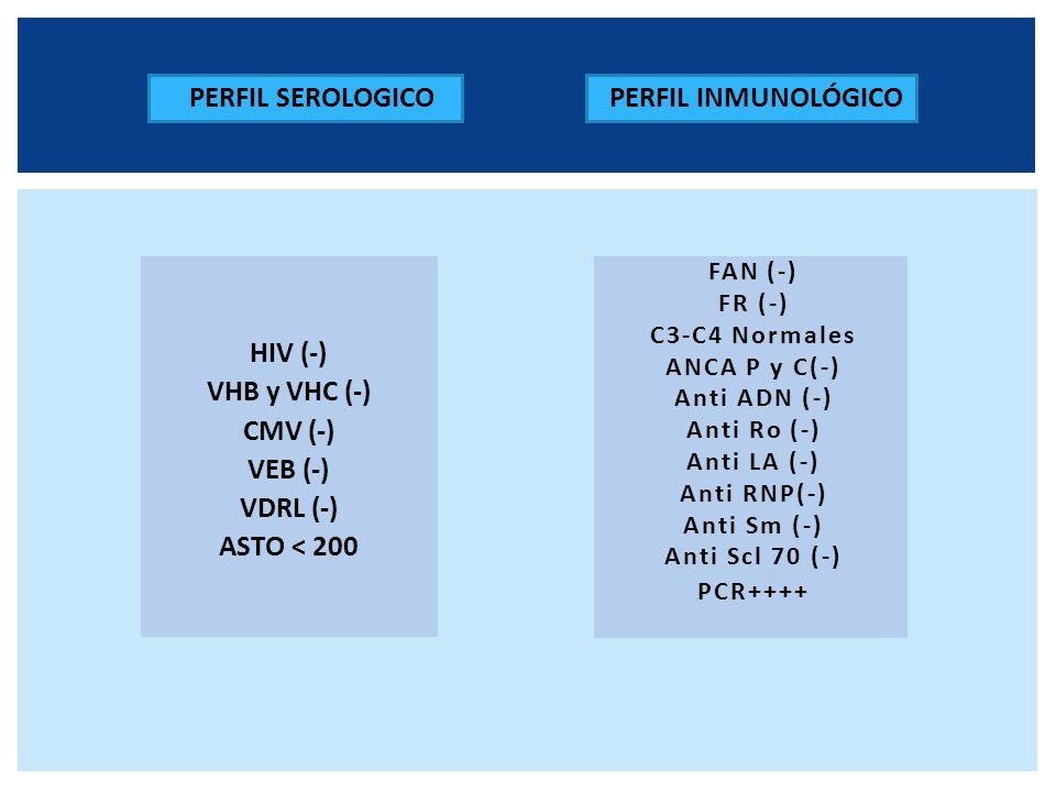 FAN (-) FR (-) C3-C4 Normales ANCA P y C(-) Anti ADN (-) Anti Ro (-) Anti LA (-) Anti RNP(-) Anti Sm (-) Anti Scl 70 (-) PCR++++ PERFIL SEROLOGICO HIV