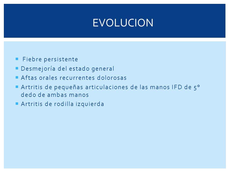 SE REALIZÓ UN NUEVO PROCEDIMIENTO DIAGNÓSTICO Por la persistencia de la leucocitosis con desviación a la izquierda PAMO: Celularidad aumentada Megacariocitos muy aumentados Serie eritroide hiperplasica Serie mieloide: hiperplasica, blastos mieloides 2% Compatible con Sme mieloproliferativo cronico Estudio Citogenético Cariotipo con 2 lineas celulares diferentes: una normal 46 cromosomas sexo femenino.