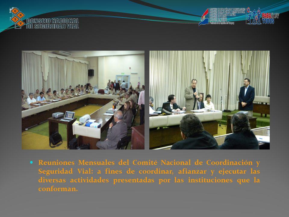 Reuniones Mensuales del Comité Nacional de Coordinación y Seguridad Vial: a fines de coordinar, afianzar y ejecutar las diversas actividades presentad