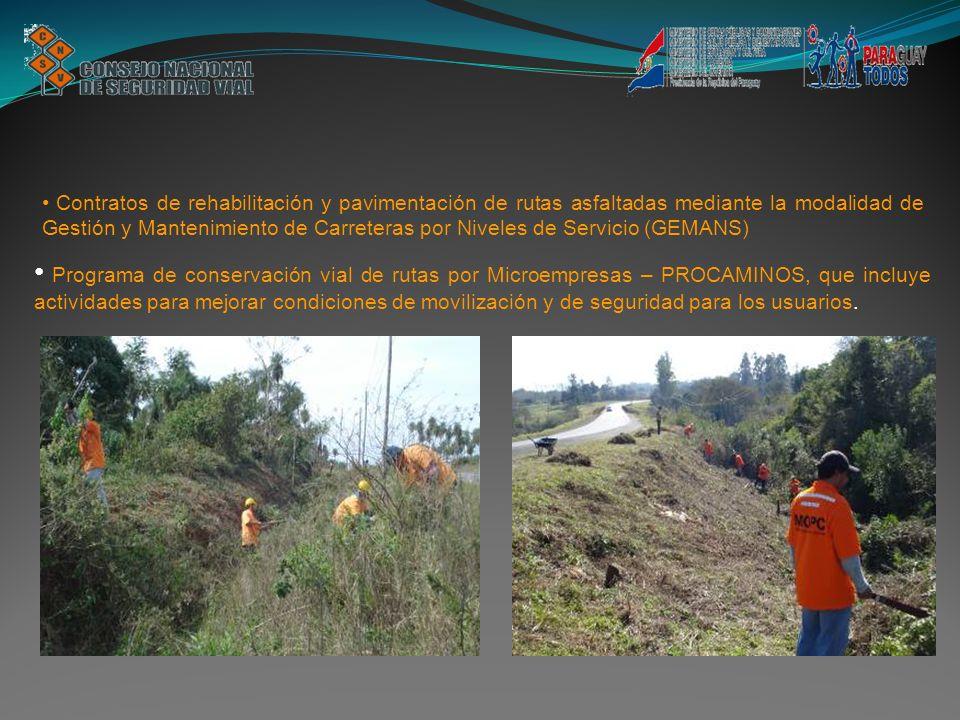Programa de conservación vial de rutas por Microempresas – PROCAMINOS, que incluye actividades para mejorar condiciones de movilización y de seguridad