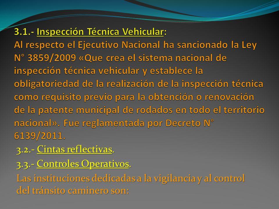 3.2.- Cintas reflectivas. 3.3.- Controles Operativos. Las instituciones dedicadas a la vigilancia y al control del tránsito caminero son:
