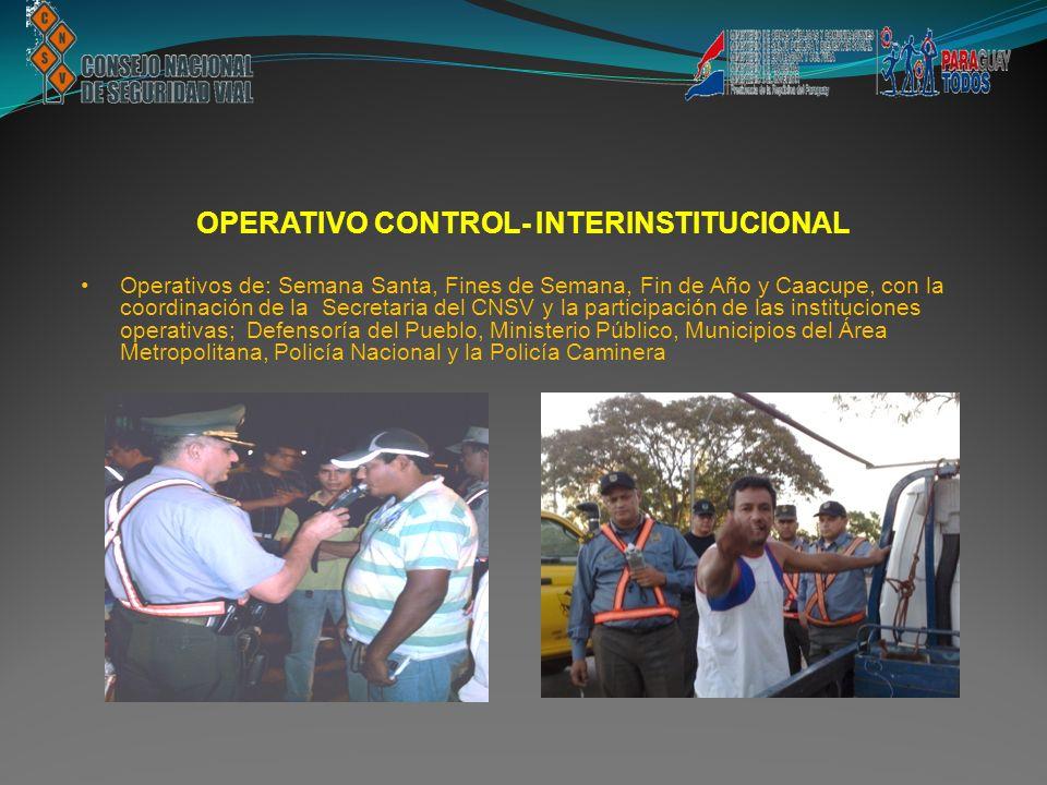 OPERATIVO CONTROL- INTERINSTITUCIONAL Operativos de: Semana Santa, Fines de Semana, Fin de Año y Caacupe, con la coordinación de la Secretaria del CNS