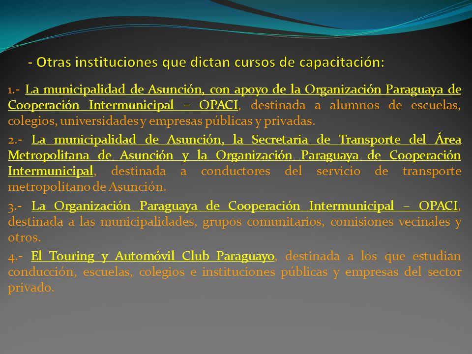 1.- La municipalidad de Asunción, con apoyo de la Organización Paraguaya de Cooperación Intermunicipal – OPACI, destinada a alumnos de escuelas, coleg