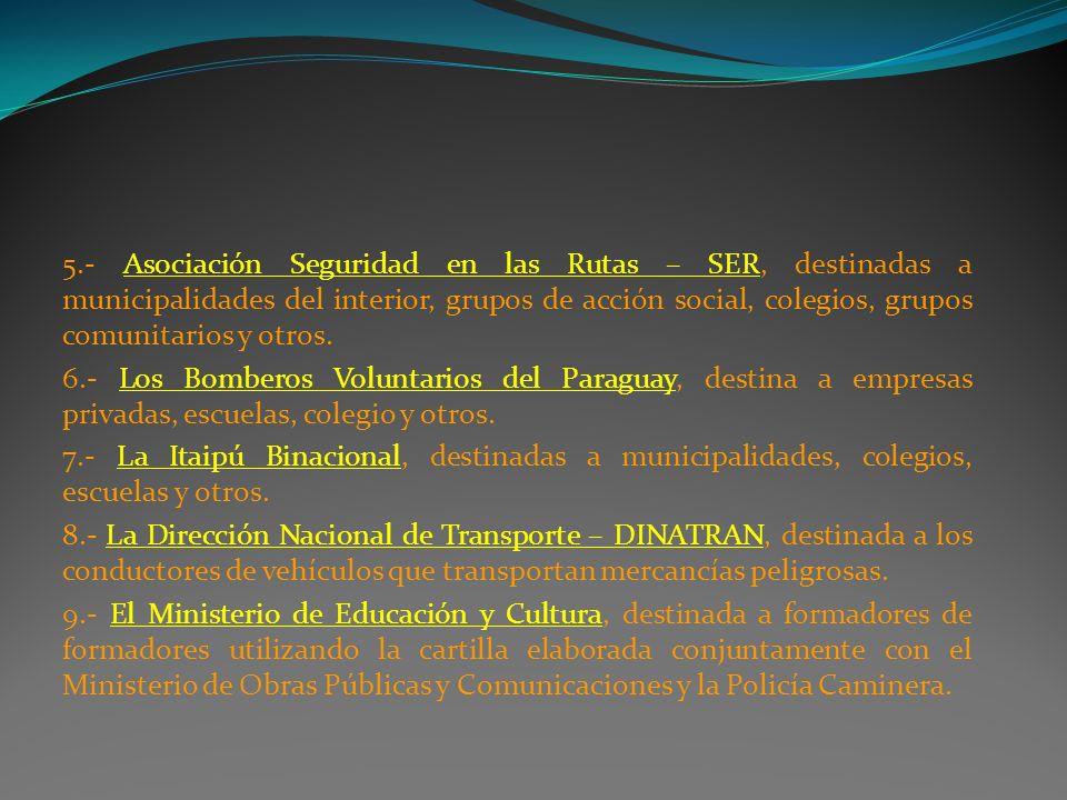 5.- Asociación Seguridad en las Rutas – SER, destinadas a municipalidades del interior, grupos de acción social, colegios, grupos comunitarios y otros