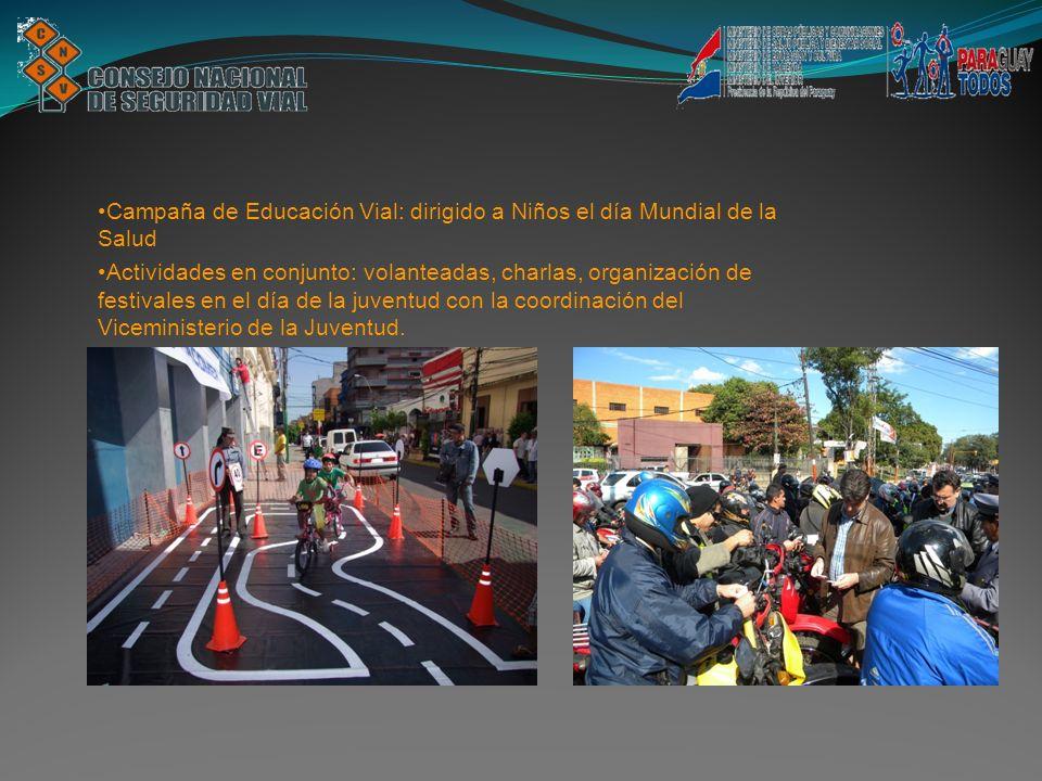 Campaña de Educación Vial: dirigido a Niños el día Mundial de la Salud Actividades en conjunto: volanteadas, charlas, organización de festivales en el